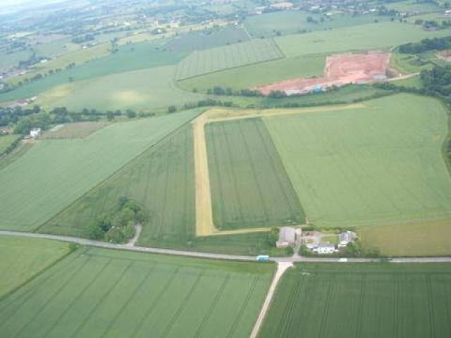 Kenyon Hall Farm strip from the air